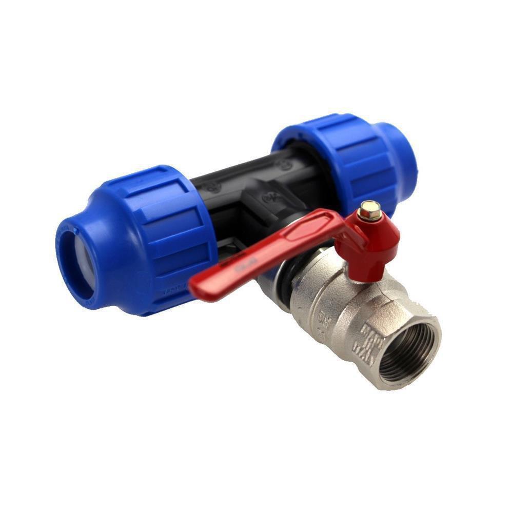 PE PP Rohr 25mm T-Stück miit 3//4 Zoll IG Anschluss